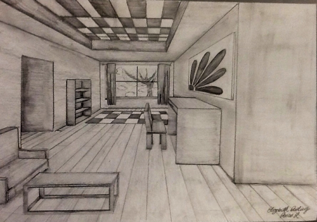 One point perspective room elizabeth 39 s portfolio - One point perspective drawing living room ...